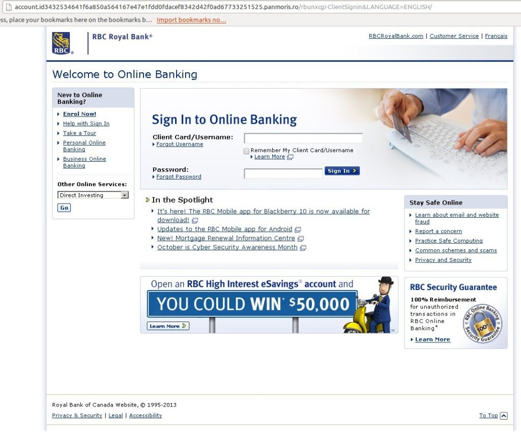 Phishing URL RBC Royal Bank