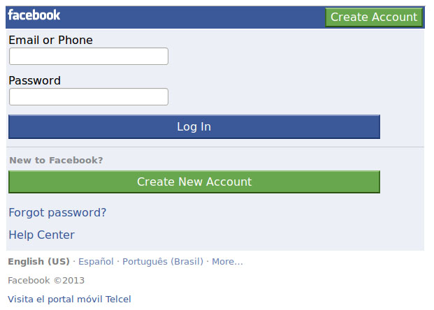 Screenshot of a fraudulent Facebook website used to conduct phishing attacks