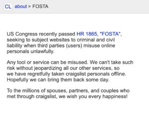 Craigslist FOSTA-SESTA Disclaimer